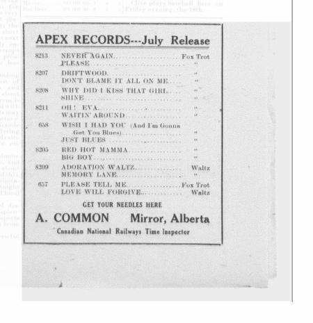 Apex Record Advertisement-1924