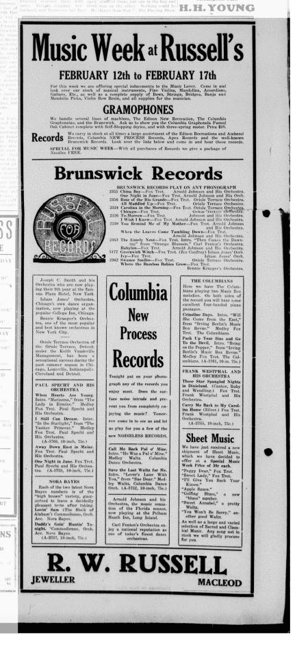 Music Week at Russell's Advertisement for Columbia and Brunswick Records-1923