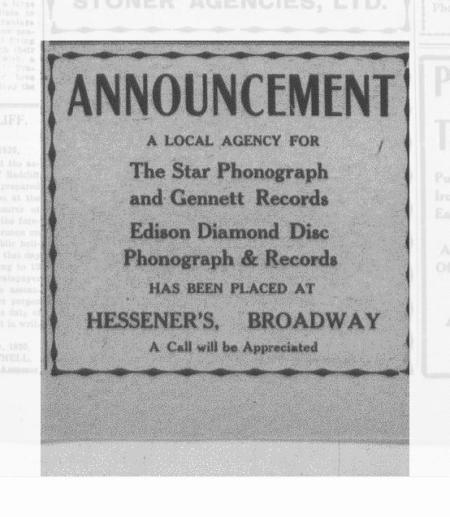Agency Advertisement for Starr Gennett and Edison Diamond Discs-1920