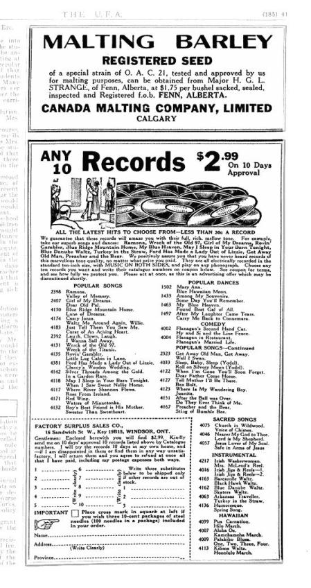 Ontario 78 RPM Record Dealer Advertisement from 1929