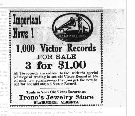 1,000 Victor Records For Sale 3 for $1.00 Advertisement