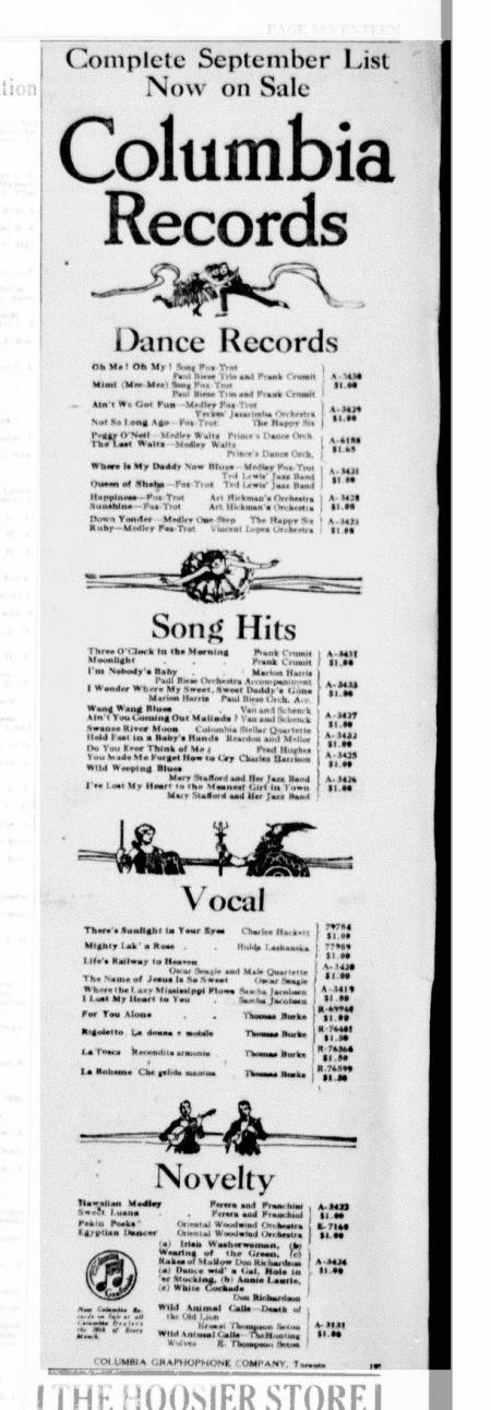 1921 Columbia Records September Selections