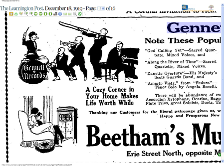 A Jazz Oriented Gennett Records Advertisement, 1919