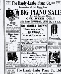 Gunn-Son-Ola and Imperial Phonograph's mention in Ad-Leamington Post, June 26,1924