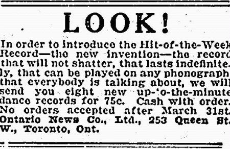 Hit-Of-The-Week Introductory Ad-Stouffville Tribune, 1931
