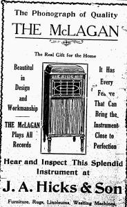 McLagan Phonograph Ad-The Essex Free Press, November 19, 1919