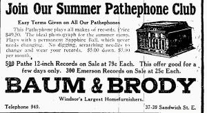 Pathephone Phonograph Ad-The Windsor Evening Record-June 28, 1918