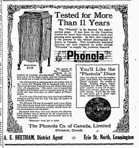 Phonola Phonograh Ad-The Leamington Post, May 22, 1919