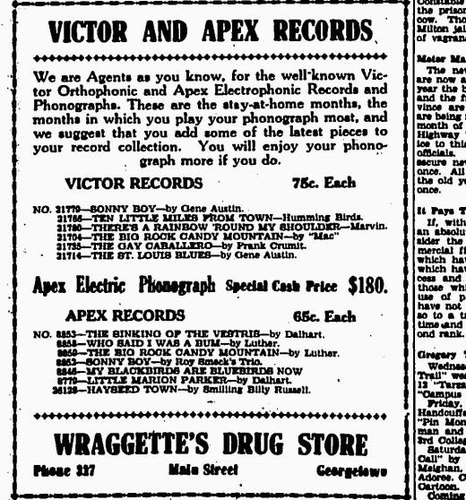 Victor and Apex Records Advertisement from 1929