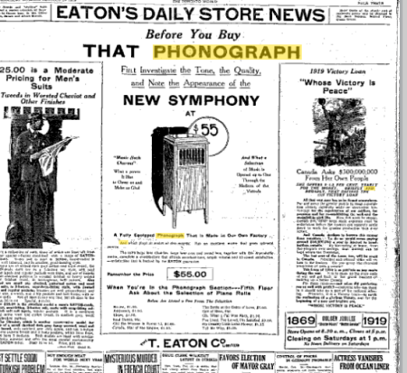 New Symphony Phonograph at Eaton's Stores-1919