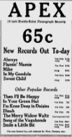 -APEX RECORDS MARCH 12, 1926 OTTAWA CITIZEN