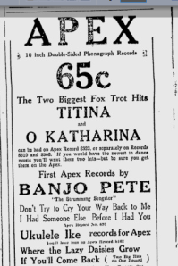-apex records ottawa citizen april 1925