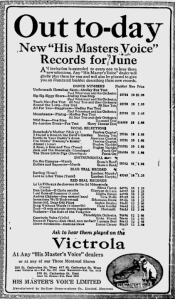-hmv records  june 1,1921 montreal gazette