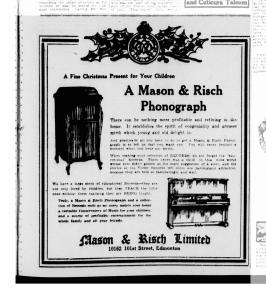 Mason Risch Phonograph as a Christmas Present-Edmonton Bulletin-1922