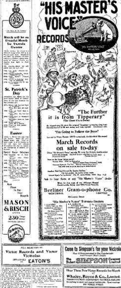 His Master's Voice Newspaper Advertisement-Toronto World, 1918