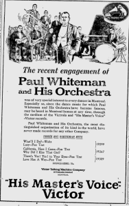 -victor records mention paul whiteman in montreal june 2,1924 montreal gazette