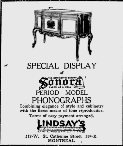 -SONORA PHONOGRAPH AUGUST 6, 1923 MONTREAL GAZETTE