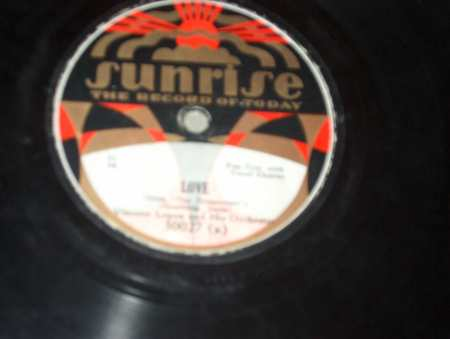 Sunrise 78 RPM Record Label from 1929