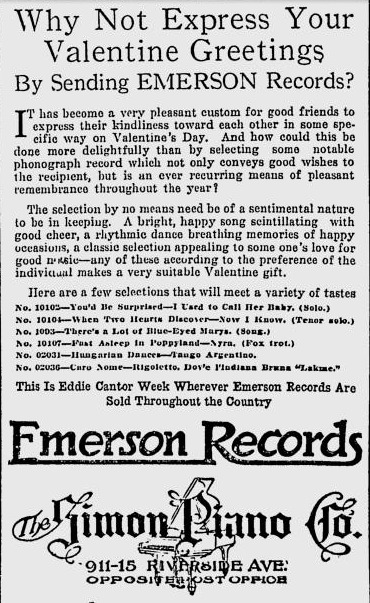Not express your valentine greeting by sending emerson records 1920