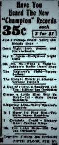old fulton ny post cards-champion records philadelphia inquirer april 10, 1926.
